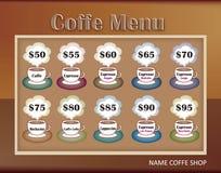 kaffedesignmenyn shoppar mallen Arkivfoto