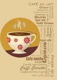 Kaffedrinkkort med en kaffekopp i typografidesign Arkivfoto