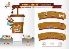 Kaffee-Ärmel-Design-Schablone Stockbild