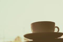 Kaffee auf Holz Stockbild