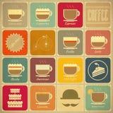 Kaffee-Aufkleber Stockfoto