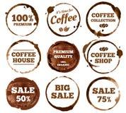 Kaffee-Aufkleber Espressoschalenring-Flecklogo des Aquarells schmutziges Vektor lokalisierte Illustration vektor abbildung