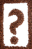 Kaffee Bean Question Mark. Stockfoto