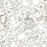 Kaffee bezogenes nahtloses Muster des Gekritzels Geschirr, Bohnen, beschriftend Lizenzfreies Stockfoto