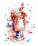 Kaffee cokctail mit Schokolade und Eiscreme watercolor Stock Abbildung
