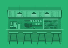 Kaffee counterin im grünen monotonen Farbhintergrund Stockfoto