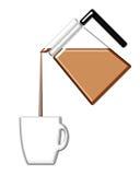 Kaffee, der in einen Becher ausläuft Stockbilder