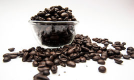 Kaffee der ganzen Bohne in der Schale Stockfotografie