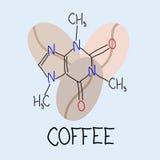 Kaffee Die chemische Formel des Koffeins Lizenzfreie Stockfotografie