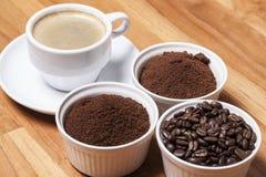 Kaffee in drei Arten Lizenzfreie Stockfotos