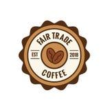 Kaffee-Emblem des fairen Handels mit Kaffeebohne-Dichtung - Brown und Rot vektor abbildung