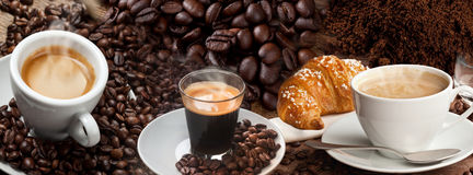 Kaffee-Fahnen-Collage Lizenzfreies Stockfoto
