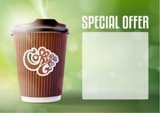 Kaffee-Fahnen-Konzept-Grün-Hintergrund Vektor eps10 Stockbilder