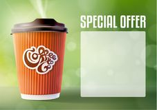 Kaffee-Fahnen-Konzept-Grün-Hintergrund Vektor eps10 Lizenzfreies Stockfoto