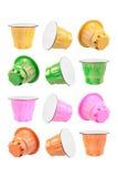 Kaffee-farbige Kapseln Lizenzfreie Stockbilder