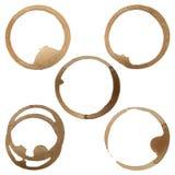 Kaffee-Fleck-Ring-Vektor-Satz stock abbildung