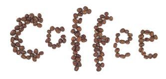 Kaffee geschrieben mit Kaffeebohnen Lizenzfreie Stockfotografie