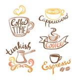Kaffee-Hand gezeichnete Aufkleber Stockfotos