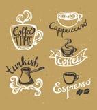 Kaffee-Hand gezeichnete Aufkleber Logoschablonensammlung Lizenzfreies Stockbild