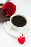 Kaffee, Herz und stieg Stockbilder