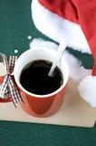 Kaffee im Weihnachten Stockbild