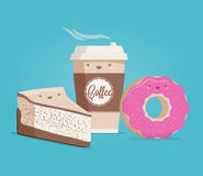 Kaffee, Käsekuchen und Donut Lustige Karikatur redete Vektorillustration an Stockfoto