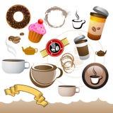 Kaffee-Kaffee-Elemente Stockfotos