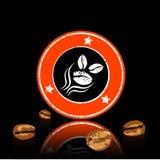 Kaffee-Kennsatz und Bohnen lizenzfreie abbildung