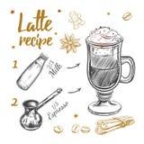 Kaffee Latte-Rezept Lizenzfreie Stockfotos
