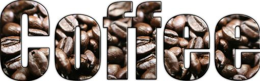 Kaffee-Logo With Coffee Beans In-Beschriftung stockfotos