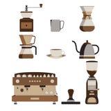 Kaffee-Maschine und Barista Tool Isolated Lizenzfreie Stockfotos