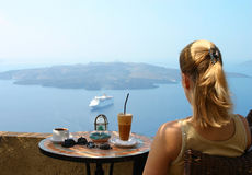 Kaffee mit Ansicht Stockfotos