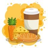 Kaffee mit Brot und Käse lizenzfreie abbildung