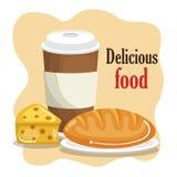Kaffee mit Brot und Käse stock abbildung