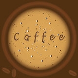 Kaffee mit der Draufsichthintergrundbraunillustrations-Kunst des Schaums kreativem modernem Vektor Stockfotos