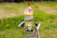 Kaffee mit Gras Stockbild