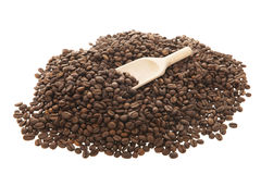 Kaffee mit hölzernem Löffel Stockfotografie