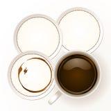 Kaffee mit Küstenmotorschiffpapier stock abbildung