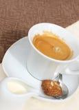 Kaffee mit Milch Stockfotografie