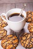 Kaffee mit Plätzchen Stockbild