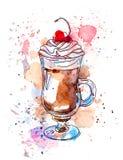 Kaffee mit Sahne und Kirsche watercolor Vektor Abbildung