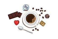 Kaffee mit Schokolade Lizenzfreie Stockbilder