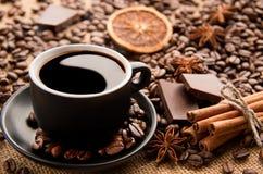 Kaffee mit Yin, Yang Lizenzfreie Stockfotos