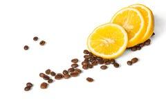 Kaffee mit Zitrone Stockfotos