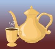 Kaffee-Potenziometer und Kaffeetasse Stockbilder