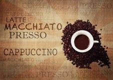 Kaffee-Schmutz-Weinlese-Hintergrund stockbilder