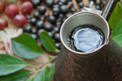 Kaffee, Schwarze Johannisbeere, Stachelbeere Stockbilder
