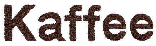 Kaffee sign from coffee beans Stock Photos