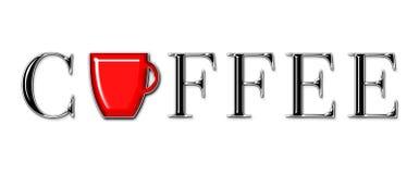 Kaffee-Text mit Becher Stockfotografie