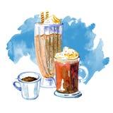 Kaffee trinkt Aquarellillustration Handgezogene Skizzenzusammensetzung mit drei Bechern Latte, mocaccino und Espresso vektor abbildung